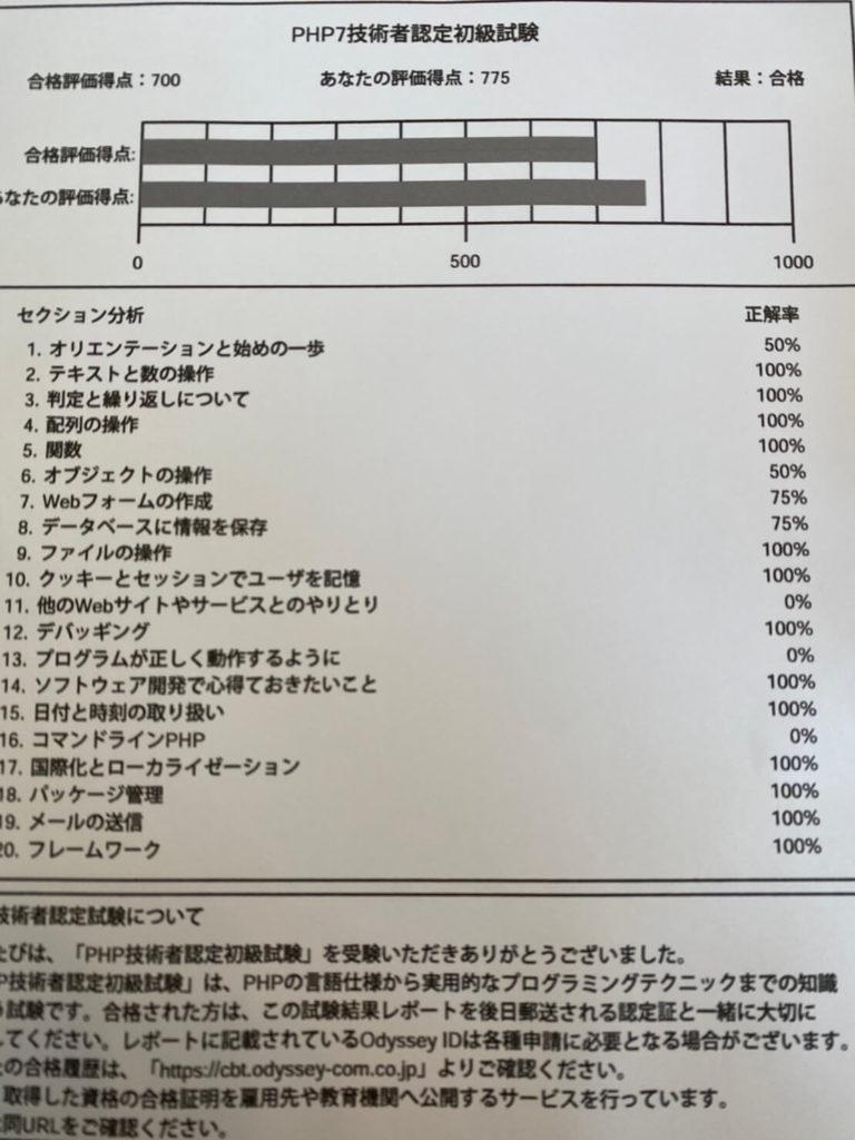 PHP7技術者認定初級試験の結果